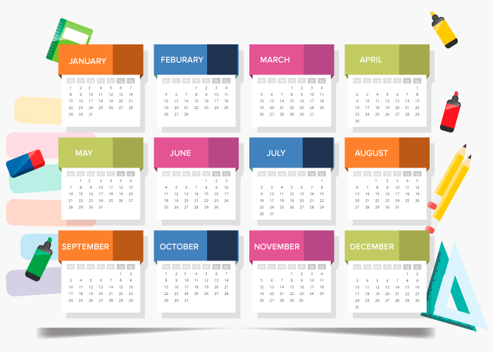 Twelve 12 Months in a year on a calendar math