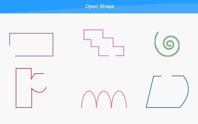 Open shapes two-dimensional start and end point not same