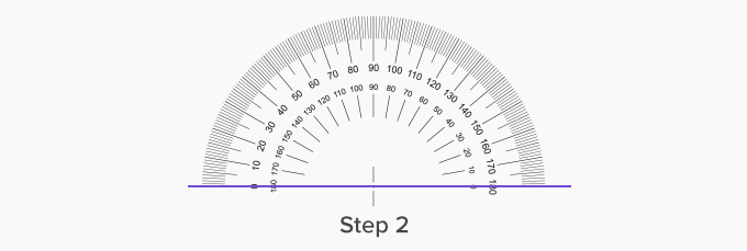 protractor on horizontal line