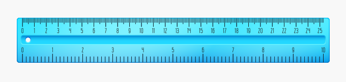Ruler with hash marks in Metric centimeter customary inches units of length