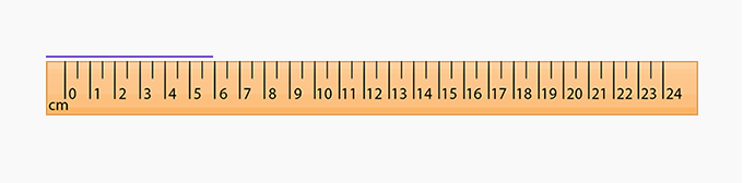 line on centimeter scale