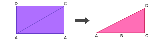 divide rectangle into equal right angle triangles