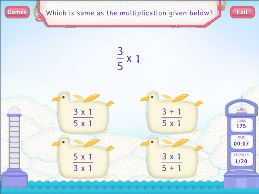 Multiply fraction by a whole Worksheet