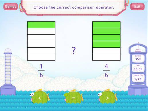 Compare fractions with same denominators Worksheet