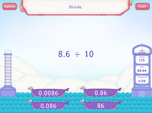 Divide decimals by a multiple of 10 Worksheet