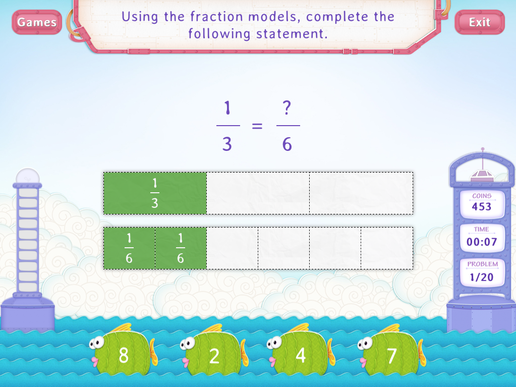 Equivalent fractions using models Worksheet